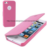 New!!!!Free shipping!!!! Ultra Slim Flip Leather Cover with Plastic Back Shell for Iphone 5
