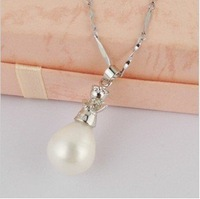 Free Shipping~Big 14mm Freshwater Natural Pearl Pendant Necklaces Jewelry, Platinum Plating, 10pcs/lot, best gift