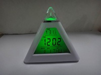 Free shipping  7 LED Color Pyramid Digital LCD Alarm Clock Thermometer+ date  music