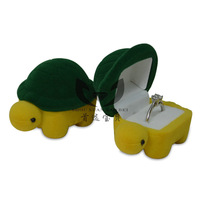 Gift   decoration  plastic  velvet  flock printing  ring  punctuated turtle box