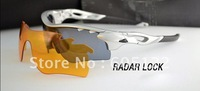 2 Pcs Lens RADARLOCK PATH Newest Style Men Sport Sunglasses Fashion Women Cycling Glasses Silver Frame Blue Logo
