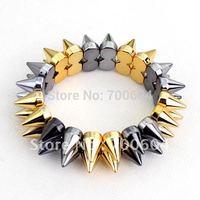 2014 newest design strench cuff bracelet men Spike Rivets unisex bracelet for women orignal from factory