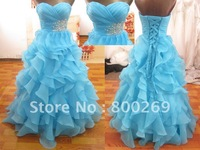 2013 Custom Made Stunning Blue Organza Sweetheart Crystals Evening Dresses/Prom Gown SL-9830