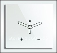 Free Shipping, Super-White Crystal Tempered Glass Touch Panel Fan Speed Switch & Wall Switch, AC110V-240V, CE approval,