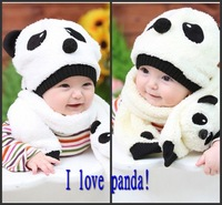 Free Shipping Autumn Winter Children's Hat Scarf Set , Panda Modeling Baby Hats , Velvet Ear Muff Cap