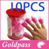 10pcs Wearable Acrylic Nail Polish Remover Soak Soakers Cap Tool Pink UV Gel Free Shipping