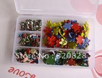 Free shipping 200pcs/set mix color metal Brads DIYcraft brads nails Christmas decoration scrapbook Card making brads wholesale