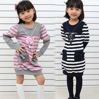 5pcs/lot2013 NEW spring autumn kids clothes fashion high quality soft cotton stripe dresses girl dress children clothing