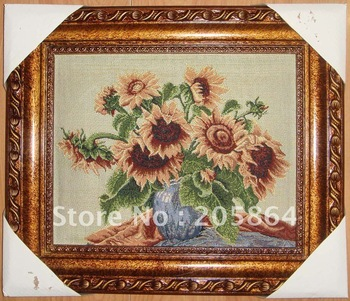 Free shipping small size wall carpet,sunflower,fabric pictures,decoration picture frame