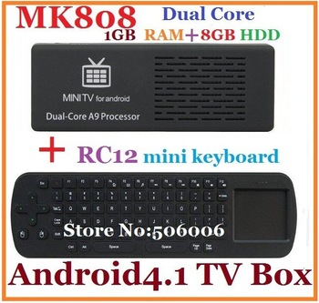 Free shipping MK808 Android 4.1 Tv box CPU Cortex-A9 dual core RK3066 1.6GHz RAM 1GB/8G HDD + Mini Fly Air Mouse RC12
