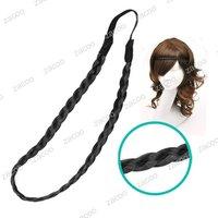 Black Braid Headband Hair Extension, Synthetic Fiber, Sold individually, 23x1cm,HA0026-1