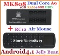 Free shipping MK808 Android TV Box 1GB RAM/ 8GB HDD RK3066 1.6GHz Cortex-A9 dual core + RC12 2.4GHz Wireless Keyboard Air Mouse