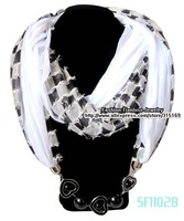 1pcs/lot, Wholesale And Retail, Black And White Polyeser Chiffon Connected Heart Jewelry New Womens Scarves, Free Shipping