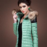 Free shipping Green leather mosaic thin slim down coat female down coat female medium-long