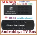Free shipping MK808 Mini PC Android TV Box RAM 1GB/8G ROM CPU RK3066 1.6GHz Cortex-A9 dual core + Measy RC12 Mini Fly Air Mouse