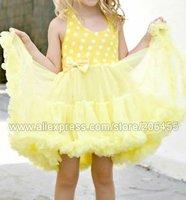 wholesale petti dress girls yellow white polka dot tutus baby toddler skirts children's party Princess dresses