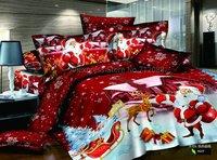 happy Father christmas day reindeer Santa Claus cartoon pattern Red 4pcs Full/Queen duvet/comforter covers bedding sets bedlinen
