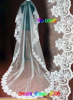 Белый велюр с кружевом один - слой свадьба аксессуары фата