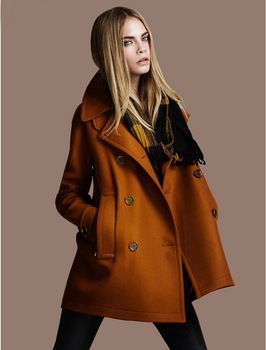 Freeshipping 2014 Autumn Winter Fashion double breasted coat female woolen outerwear Long overcoat plus size clothing #3052