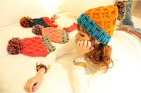 [Vic] 10pes/lot Handmade Wool Woman Winter Crochet Knit Beanie Hat 7 colors in stock  #MZ018+ Free Shipping