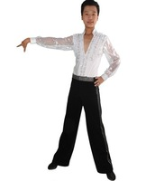 2012 glitter V-Neck boy Latin dance costume(shirt+pants)6~13T Customized kid Rumba/Cha-Cha perform suit child Ballroom dancewear