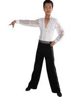 2012 glitter V-Neck boy Latin dance costume(shirt+pants)6~13T Customized kid Rumba/Cha-Cha perform suit child Ballroom dancewear
