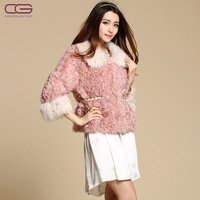 Cg 2012 berber fleece turn-down collar short design wool overcoat women's fur coat