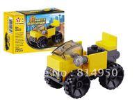 Free Shipping mini yellow engineering truck, the Building Blocks Set, Enlighten Brick Toys,new year Gift,children education toys
