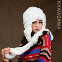 2013 winterRex rabbit  fur hat scarf women's winter cap for the women of the rabbit fashion  free shipping