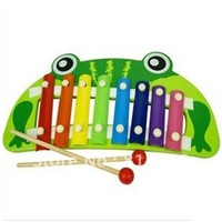 Free shipping,the frog shape hand knock wooden xylophone musical instrument toy