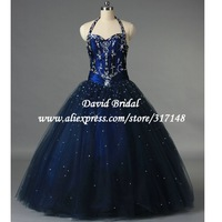 Real Sample R1034 Lace Up Back Dark Blue Halter Top Beaded Ball Gown Quinceanera Dresses 2013