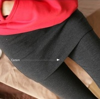 THICKENED fleeces Sexy slim fit stretch leggings with mini skirts fashion women's false two-piece legging Free Ship