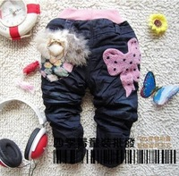 new arrival Thicker warm  fur bowtie children JEANS pants trousers 1-4years 100%COTTON High Quality Cute Best gifts