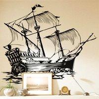 Free Shipping Wholesale  Wall stickers Home Garden Wall Decor  Vinyl Removable Art Mural Home decor Ship Sailboat F-27