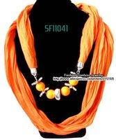 [12pcs/lot +Free shipping] Fashion Orange Sring & Autumn Bead Pendant Scarf for Lady ,Scarf Necklace Jewelry[Wholesale & Retail]