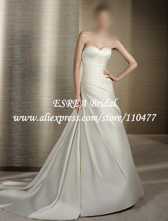 Simple A Line Sweetheart Long Pleated Ivory Satin Wedding Dresses Detachable Train RG1100(China (Mainland))