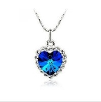 Free shipping wholesale mixed group of 2012 with new Austrian crystal heart pendant Titanic voyages crystal necklace X168