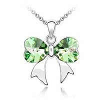 Free shipping wholesale crystal bowknot pendant necklace beautiful birthday present X358