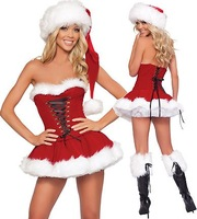 Free shipping Christmas day  Santa Claus Costumes sexy lady