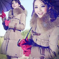 Free Shipping!2012 New Winter! High-end Customization Raccoon Collar Long-sleeve Fashion Thicken Women Down Jackets Coats,GRYR89