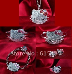 Free Shipping,hello kitty products, hello kitty jewelry set, hellokitty ribbon in pink bow with free jewelry gift-12set a lot(China (Mainland))