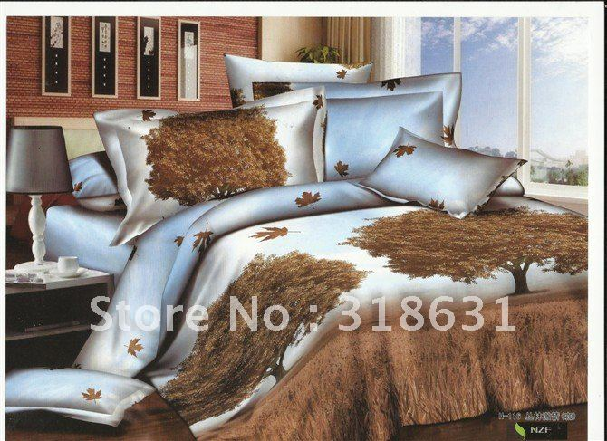 High grade with best price Autumn Jungle design bedding Coffee duvet cover bedding sets comforter sets 5pcs full/queen for sale(China (Mainland))