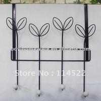 durable metal clothes over door hook with ceramic knob balls coat hook clothes hanger towel hook wholesale TY08-BK