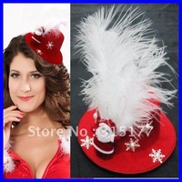 Free shipping Santa and Snow Mini Top Hat With Lovely Santa doll 2012 Christmas accessories Wholesale 10pcs/lot Mix order 73087