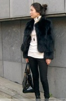 2012 short design fox fur outerwear rabbit leather coat fur overcoat
