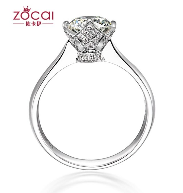 ZOCAI BRAND LOVE'S CROWN NATURAL 0.5 CT CERTIFIED I-J /SI DIAMOND ENGAGEMENT RING ROUND CUT 18K WHITE GOLD JEWELRY FREE SHIPPING(China (Mainland))