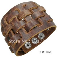 FREE SHIPMENT,Fashion leather cuff,braid leather bracelet,real leather quality