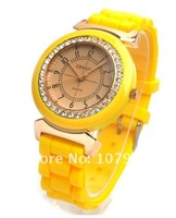 Hot Sale Newest Fasion Dial Silicone Quartz women&#39;s diamond wrist watches 7 colors ,10pcs/lot
