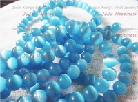 100pcs/lot 10mm Fashion Round Light Blue Glass Cats eye Spacer Beads Loose Beads Free Shipping!s1043