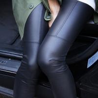 Wholesale Cocopark ladies slim thin matte faux leather patchwork legging
